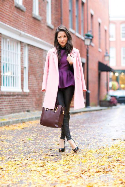 Color Love :: Rose car coat & Purple peplum