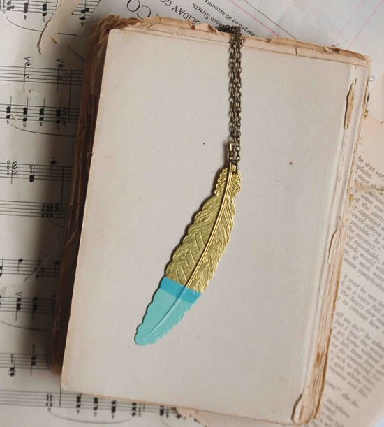 Mint Green Golden FEATHER Pendant Long Necklace by redtruckdesigns