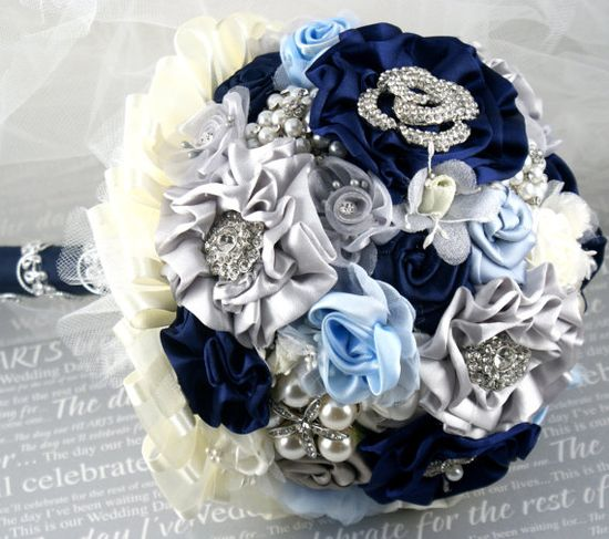 Brooch Bouquet Jeweled Bouquet in Navy Blue Ivory by SolBijou