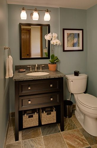 Wallner Builders traditional powder room (Bluish gray walls and dark wood work great in small bathroom) love this vanity