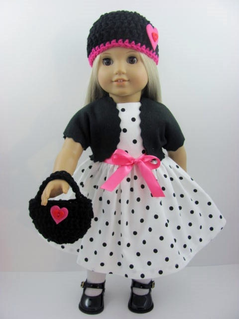 Polka Dots and Hearts Doll Dress Set for the American Girl Doll