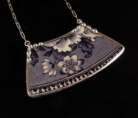 Antique flow blue floral plate necklace made from broken china by Dishfunctional Designs