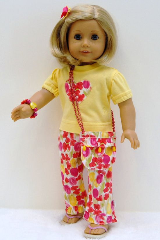American Girl 18 inch Doll Clothes Yellow by TwirlyGirlDollDesign
