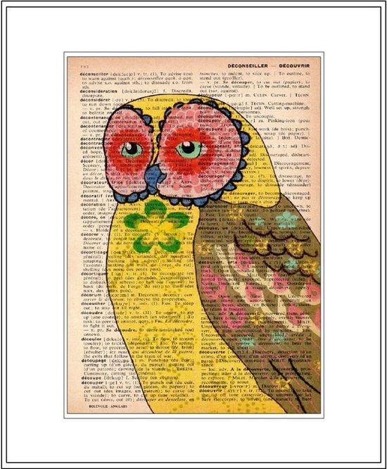 Owl painting on a dictionary page. Love this! This would be so cute in a frame!