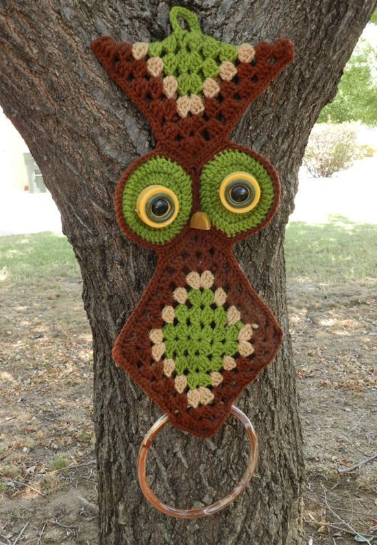 1970s Crocheted Owl. Every kitchen had one.