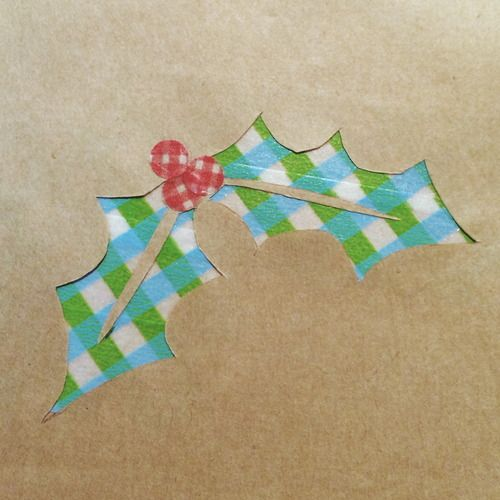 washi tape holly! gift wrapping idea