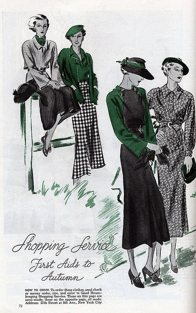 Elegant autumn fashions from the 1930s. #vintage #fashion #illustration #1930s