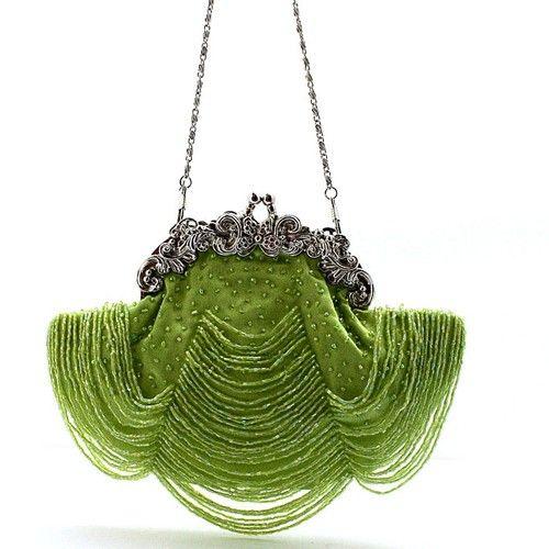 Green curtain beaded bag