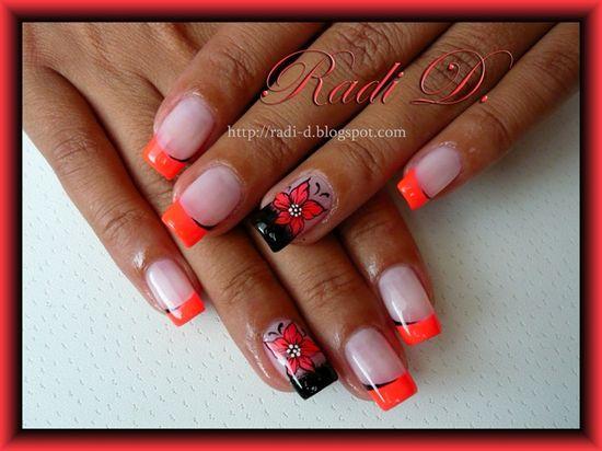 Neon Flowers & French by RadiD - Nail Art Gallery nailartgallery.na... by Nails Magazine www.nailsmag.com #nailart