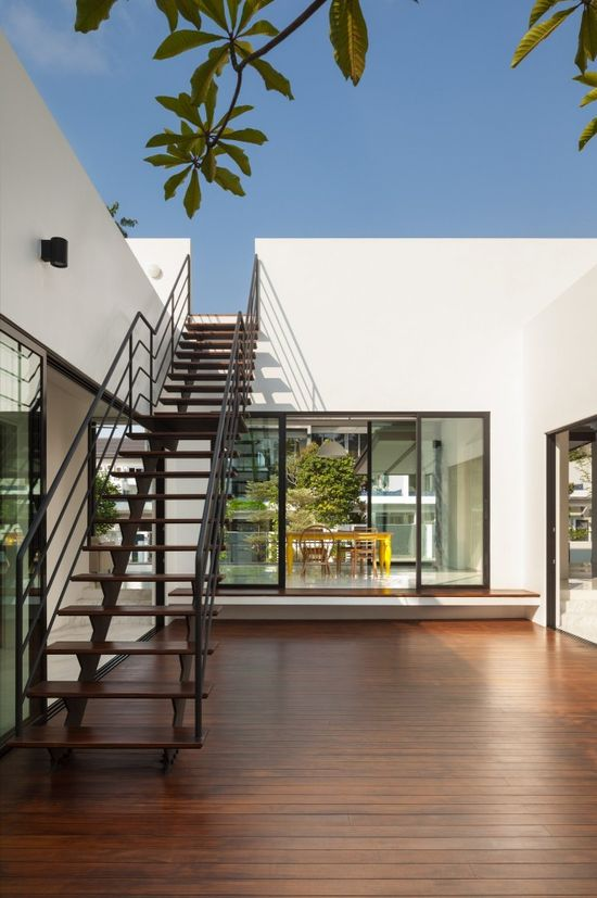 Stairs at Mandai Courtyard House, Singapore by Atelier M+A