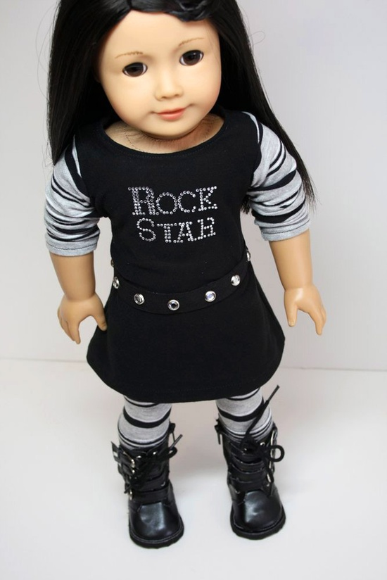 American Girl Doll Clothes-Rock Star Dress, Belt and Leggings.via Etsy.