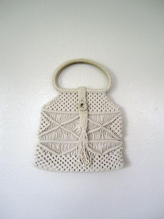 Vintage Purse / 60's Off white macrame bag #vintage #fashion #purse