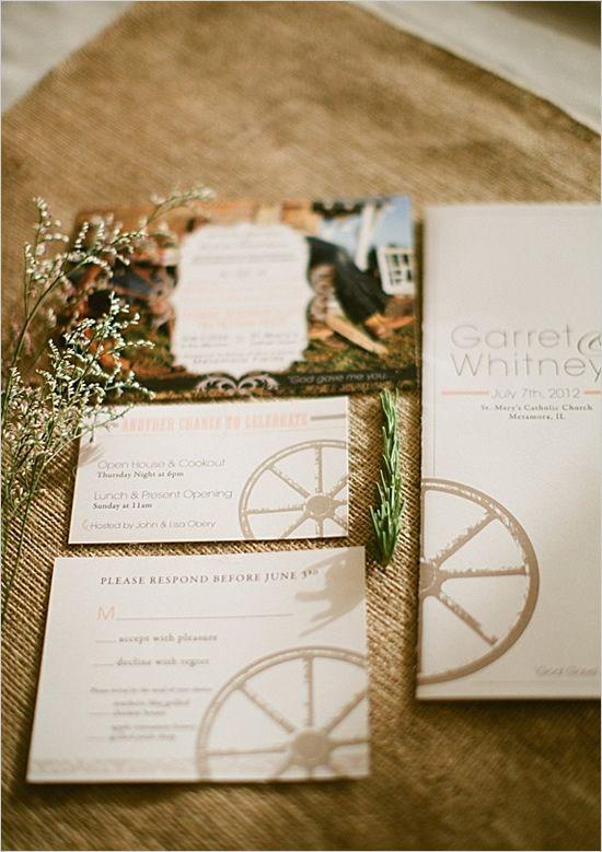 wagon wheel wedding invites