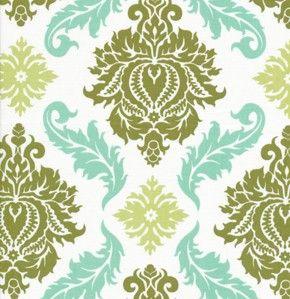 Aviary 2 Damask Dill Green Aqua Blue Cream - Manzanita Joel Dewberry - Freespirit Westminster Rowan Fabric - Fat Quarter 18 by 22