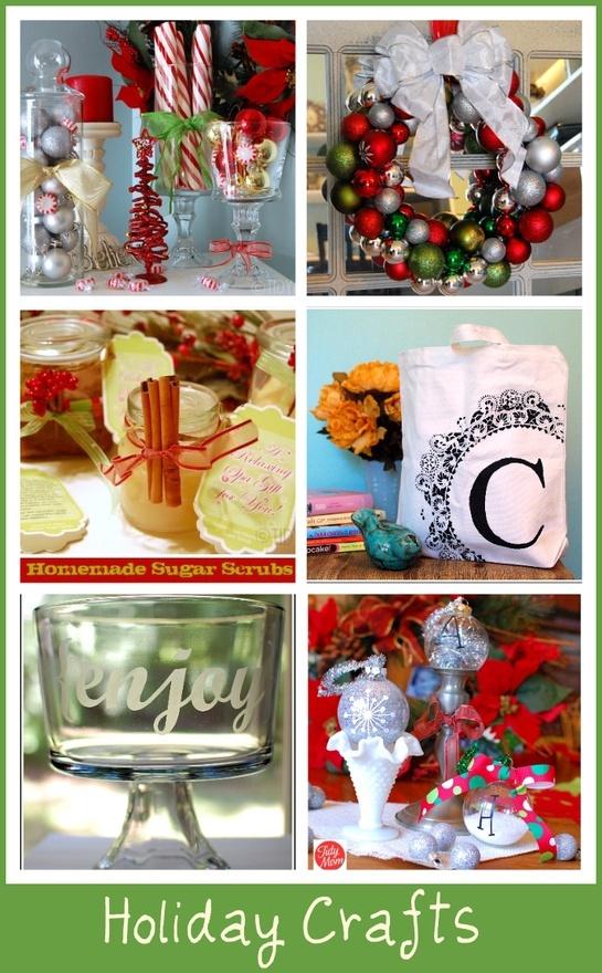 Dollar Store Decor, Ornament Wreath, Homemade Sugar Scrubs, Monogrammed Stenciled Canvas Bag, Etched Glass Bowl, Handmade Ornaments