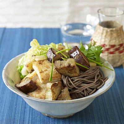 Miso-Marinated Tofu and Eggplant Over Soba Noodles    Traditional Asian meals are rich in vegetable protein sources, just like this sweet-and-sour noodle recipe. Tofu provides 11 grams of protein, and the eggplant has plenty of fiber.