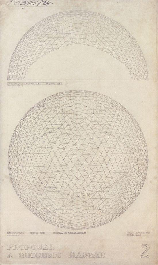 Buckminster Fuller, Architectural drawing of a Geodesic Hanger, 1951