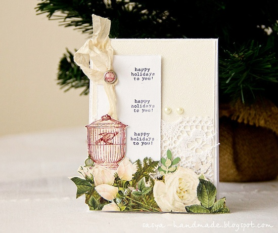 Great layering and fussy cutting at work on this serene, elegant holiday card. #Christmas  #card #card_making #paper_crafting #scrapbooking #handmade #crafts