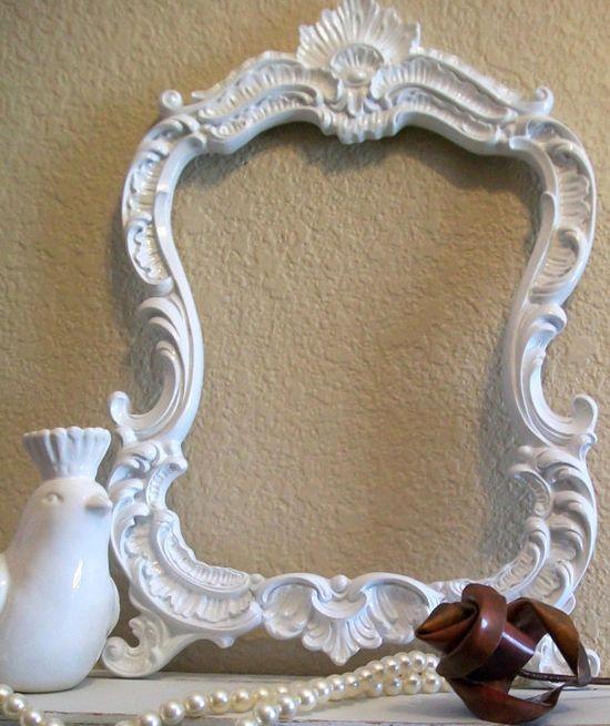 Baroque Ornate Vintage Frame-Photo Frame-8x10-Picture Frame-White-Any Color-Blackboard-Chalkboard-Baroque Frame-White-AnY Color-Mirror via Etsy