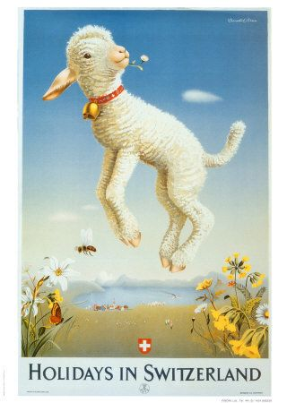Not sure what the lamb is about! #Switzerland Vintage Travel Poster