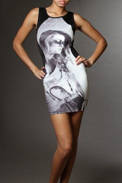 Fashion Model Print Scoop Neck Sleeveless Tank Dress