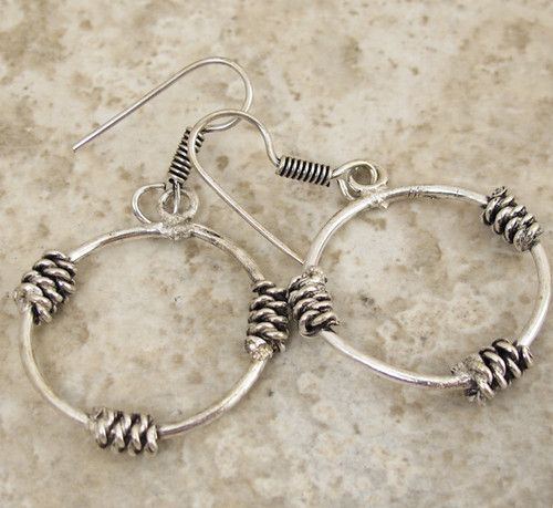 """Free Shipping Fancy Crafted """"Wire Work"""" Design Silver Earrings 2 inch J29 104"""