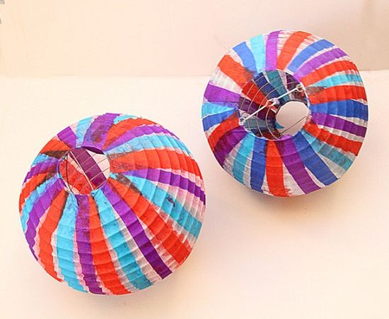 Make tissue paper embellished lanterns
