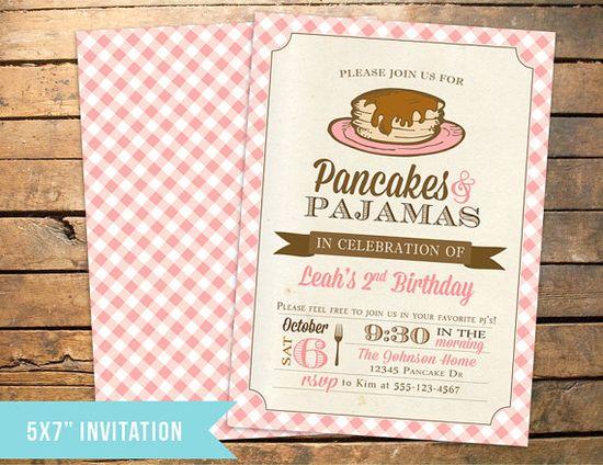 Pancakes and PJs Pajamas Birthday Invitation {three little monkeys studio}