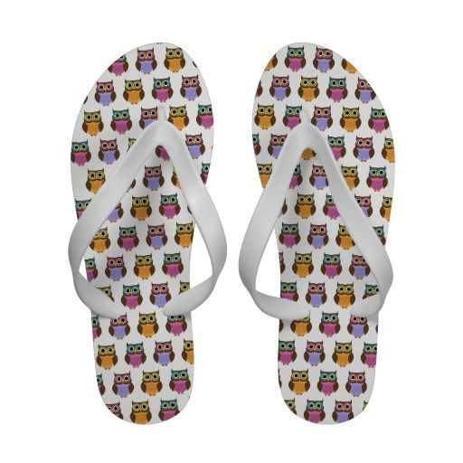 Cute #Owls Pattern Flip Flop Sandals