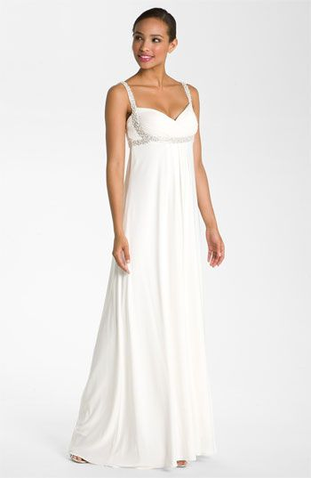JS Boutique Pearl Trim Crisscross Matte Jersey Gown available at #Nordstrom #Nordstromweddings.