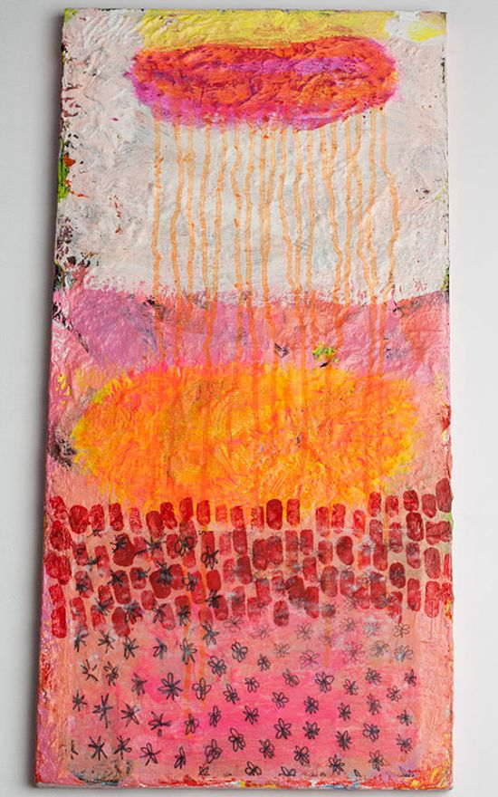 orange abstract painting rain original white pink by eeliethel, $699.00