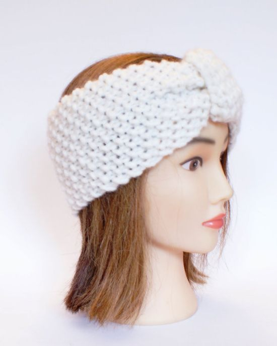 Irish handknit white earwarmer headband 100 wool by Johannahats, $22.00