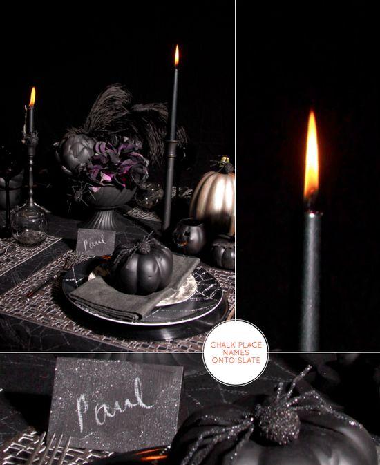 Monochromatic halloween tablescape