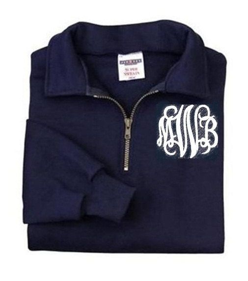 Monogrammed Sweatshirt - Quarter Zip Pullover by Mad About Monograms - 4 Colors love navy and white