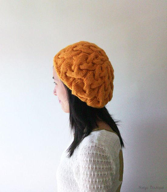 Hand Knitted Cable Slouch Hat in Mustard Yellow  by naryaboutique, $31.00