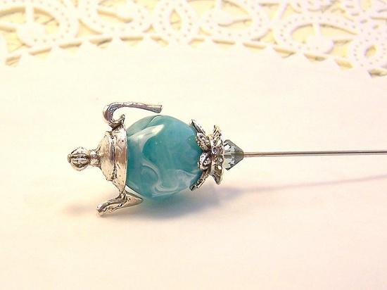Beaded hat pin jade aqua blue green jadite white swirl miniature teapot Victorian scarf pin.
