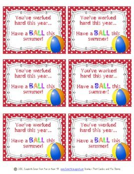 """""""Have a Ball"""" End of the Year Gift Tag"""