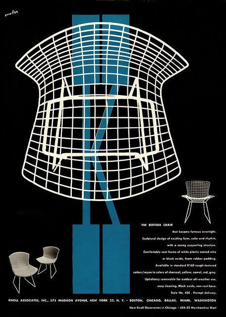 1953 Knoll Ad #typography #illustration #graphic design #advertising