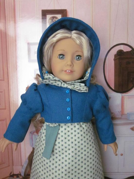 Regency Dress with Teal Spencer and Bonnet for Caroline and American Girl Dolls. $75.00, via Etsy.
