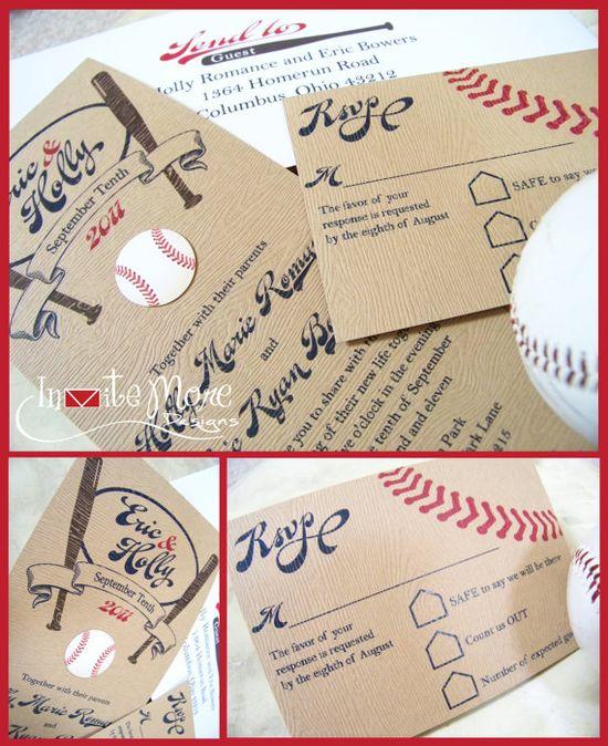 Baseball wedding invitation finally for sale on Etsy for $4.75 per suite!  Invite More Designs