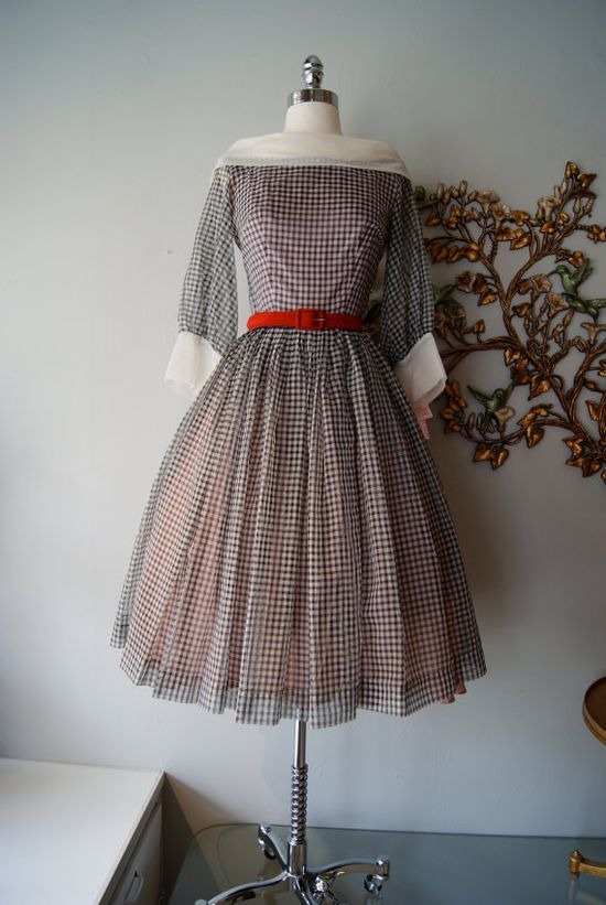 #dress #1950s #partydress #vintage #frock #silk #retro #teadress #petticoat #romantic #feminine #fashion #tartan #checkered #plaid