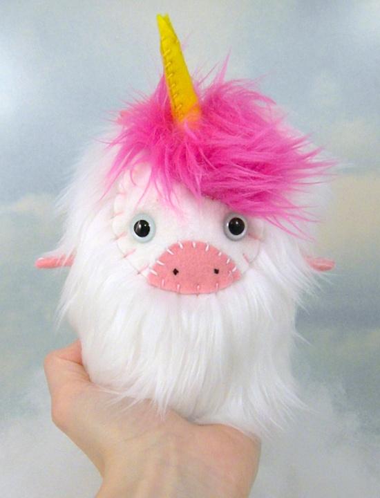 Speranza the plush unicorn white and hot pink stuffed animal LIMITED EDITION. $25.00, via Etsy.