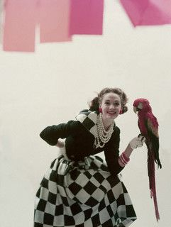 Polly want a fashion spread? :) #vintage #fashion #1950s #parrot