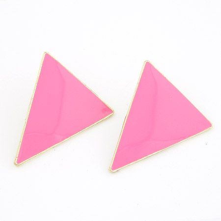 Gold Big Pink Triangle Statement Stud Earrings