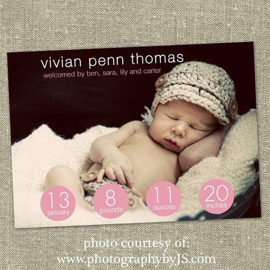 birth announcement with my baby girls name