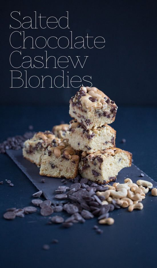 Salted Chocolate Cashew Blondies with Chobani