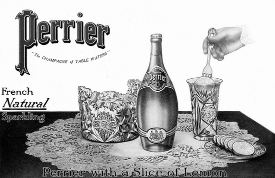 An elegant ad for Perrier carbonated water from 1910. #vintage #1910s #Edwardian #food #drinks #ad