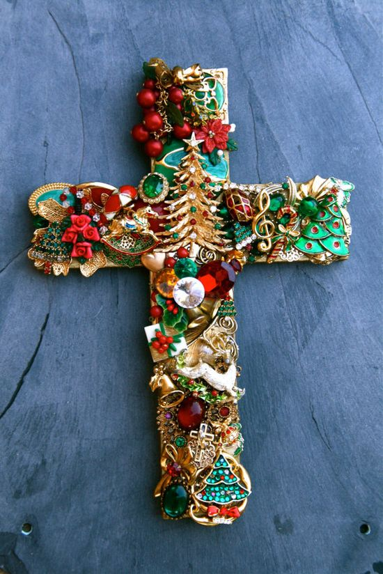Hand Designed Recycled and Vintage Jewelry Christmas Wall Cross. $120.00, via Etsy.