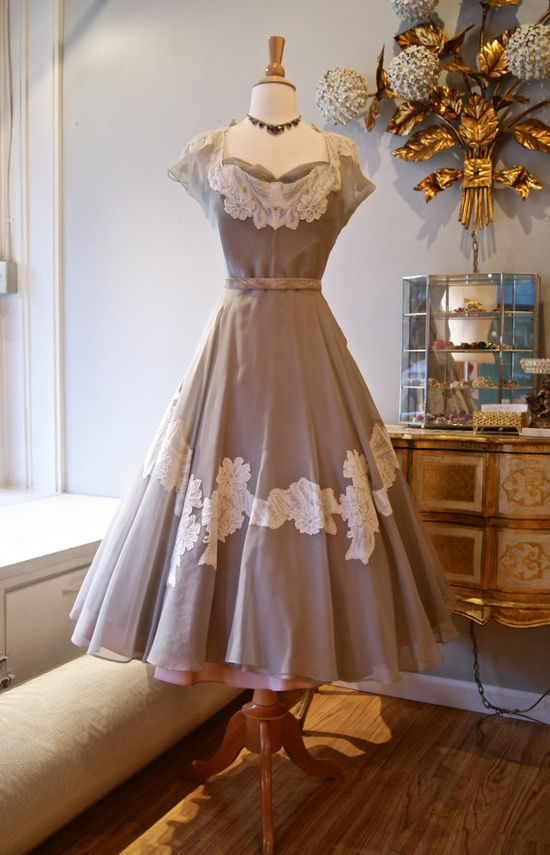50s Party Dress // Vintage 1950s Dove Grey Silk by xtabayvintage, $398.00
