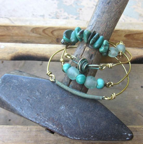 Industrial revolution Mixed Media Bangle Stack by elementsinspired, $55.00